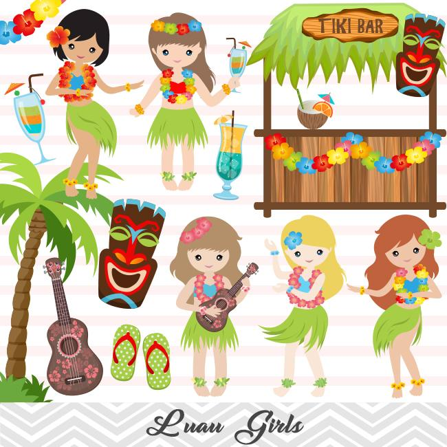 Party girl clipart image black and white library Luau Girl Digital Clip Art, Hawaii Tiki Party Clipart, Hula Party Girl Clip  Art, 0170 image black and white library