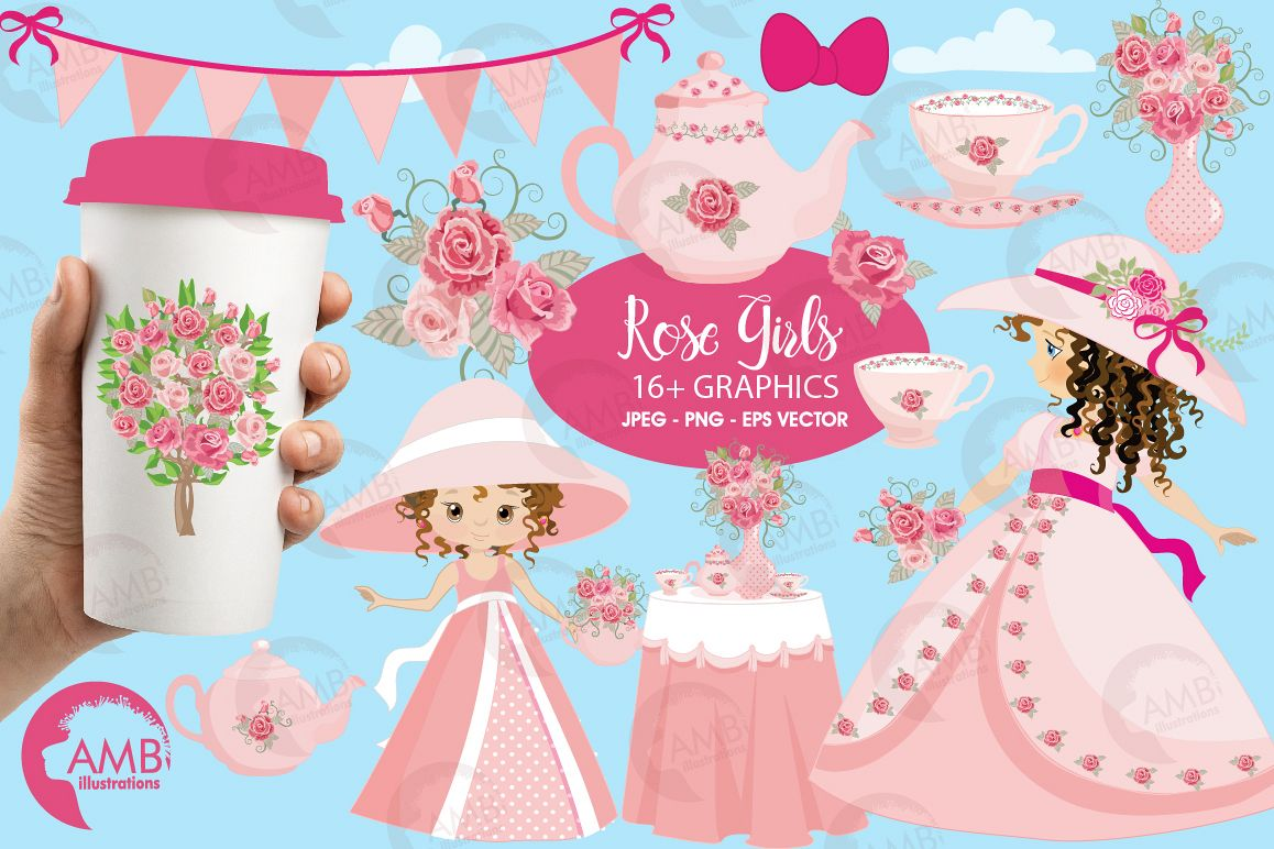 Party girls clipart clip black and white Garden party girls, Summer party, graphics, clipart, illustrations AMB-998 clip black and white