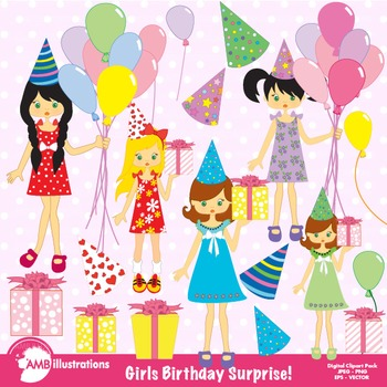 Party girls clipart clip royalty free download Birthday Clipart, Birthday Party Clipart, Girl Clipart, Clip Art AMB-251 clip royalty free download