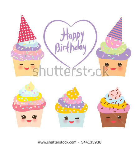 Party hat clipart pastel color picture stock Happy Birthday Card Design Cupcake Kawaii Stock Vector 315146444 ... picture stock