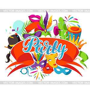 Party icons clipart picture library download Carnival party background with celebration icons, - vector ... picture library download
