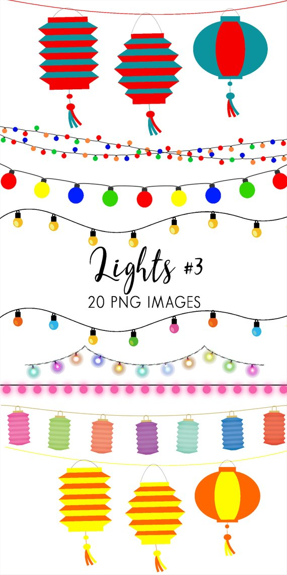 Party lights clipart banner freeuse stock Lights & Lanterns String Lights Clipart, Fairy Lights Clip Art ... banner freeuse stock