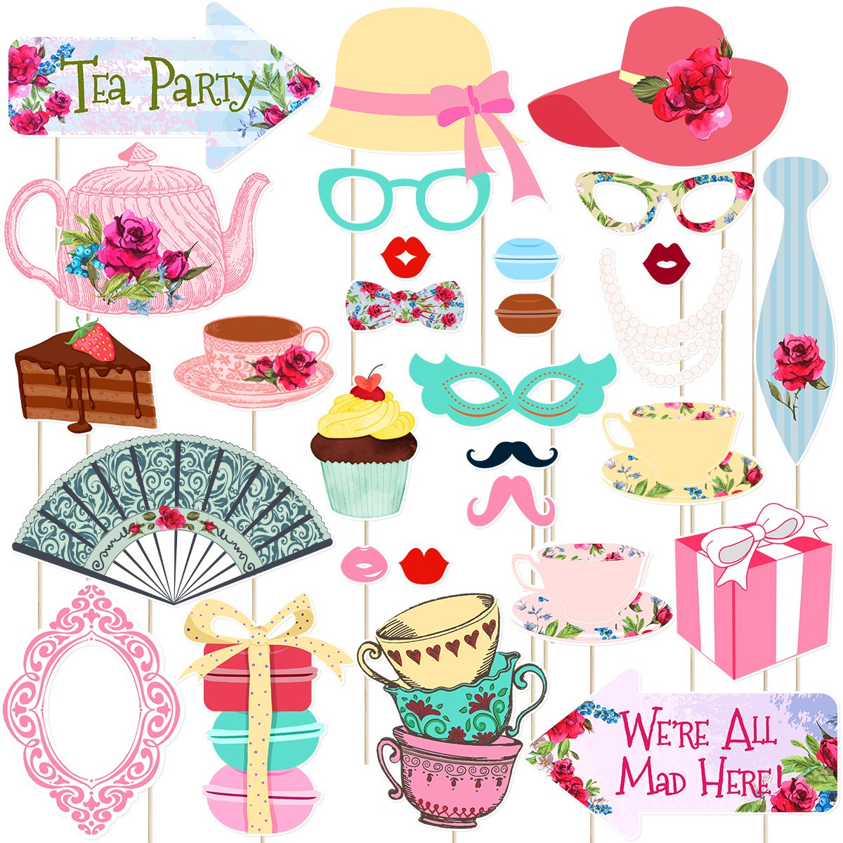 Party supply clipart vector library stock Tea Party Photo Booth Props Stick Props Tea Party Supplies Decoration Pack  of 30 (Style 2) vector library stock