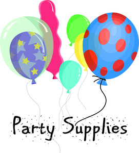 Party supply clipart vector royalty free Free Party Clip Art Image - Party Supplies for a Birthday Party vector royalty free