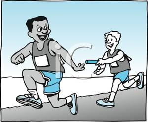 Passing the baton clipart image transparent library Two Men Running and Passing a Baton - Royalty Free Clipart ... image transparent library