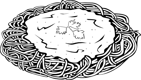 Pasta black and white clipart image stock Spaghetti And Sauce 2 Clip Art at Clker.com - vector clip ... image stock