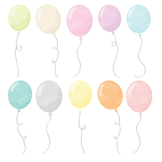 Pastel balloons clipart graphic royalty free stock Premium Pastel Party Balloons Clipart for Digital Scraps graphic royalty free stock