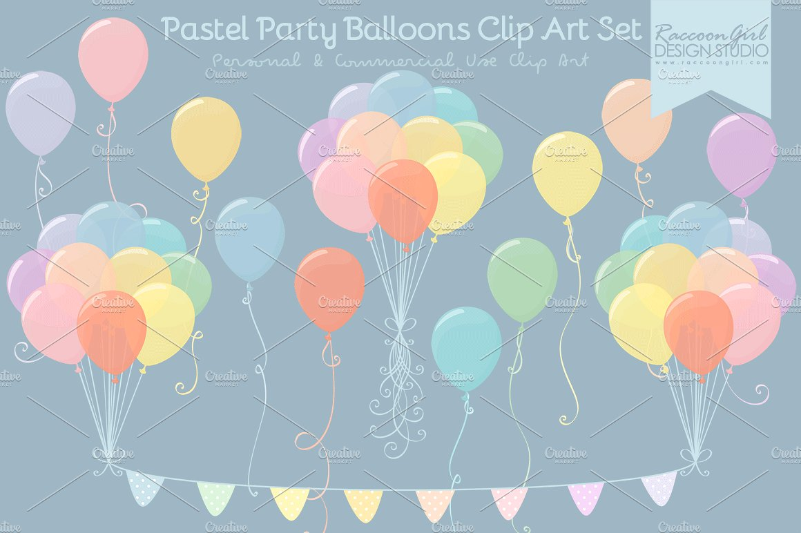 Pastel balloons clipart png download Pastel Party Balloons Clip Art ~ Illustrations on Creative Market png download