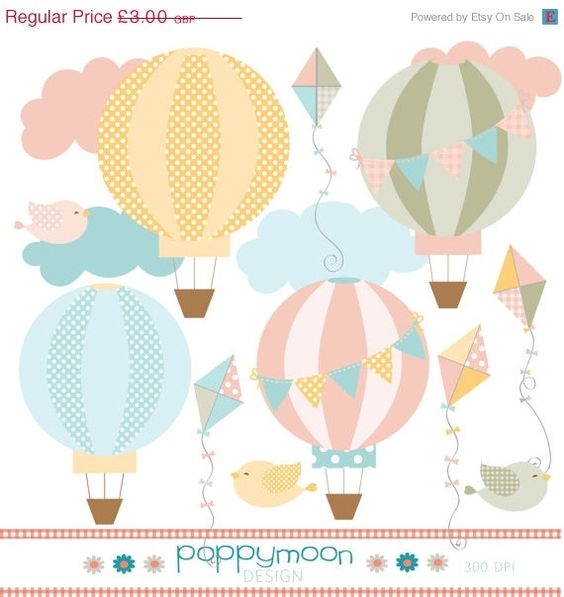 Pastel balloons clipart banner library stock 50% OFF SALE Hot air balloon and kite pastel pink yellow, blue and ... banner library stock