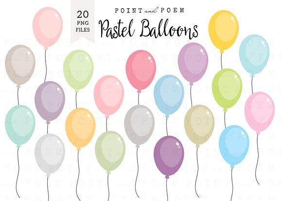 Pastel balloons clipart picture transparent stock Pastel Balloons Clip Art ~ Illustrations on Creative Market picture transparent stock