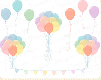 Pastel balloons clipart clip art freeuse library Balloon clipart set | Etsy clip art freeuse library