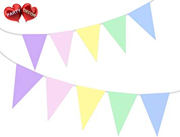 Pastel banner clipart picture black and white download Pastel Rainbow coloured Bunting Banner 15 Flags For ... picture black and white download