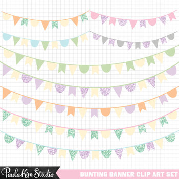 Pastel banner clipart png library library Clipart - Pastel Glitter Bunting Banners by Paula Kim Studio ... png library library