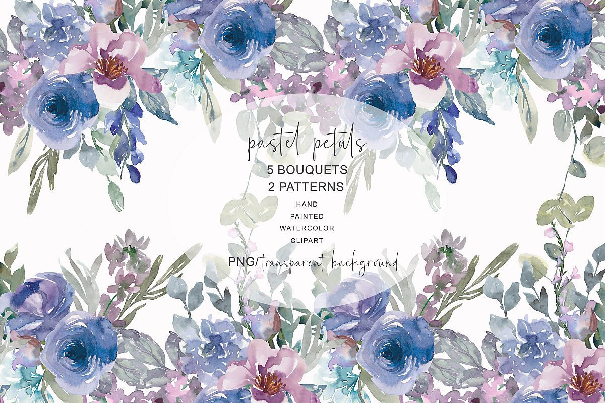 Pastel blue cliparts svg library Watercolor Pastel Blue and Mauve Floral Bouquet Clipart svg library
