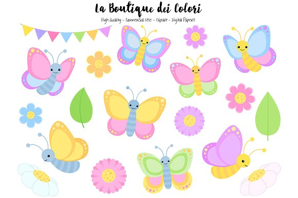Pastel butterfly clipart clip art freeuse download Pastel Butterfly Clipart ~ Illustrations on Creative Market clip art freeuse download