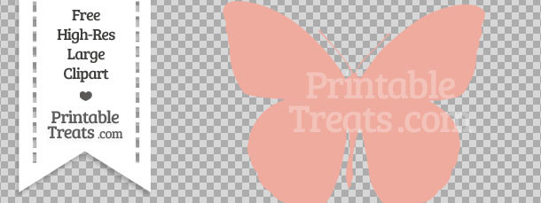 Pastel butterfly clipart jpg library download Pastel Coral Butterfly Clipart — Printable Treats.com jpg library download