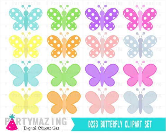 Pastel butterfly clipart clip stock Butterfly Clipart Set, Spring Pastel Butterfly Digital Graphics ... clip stock