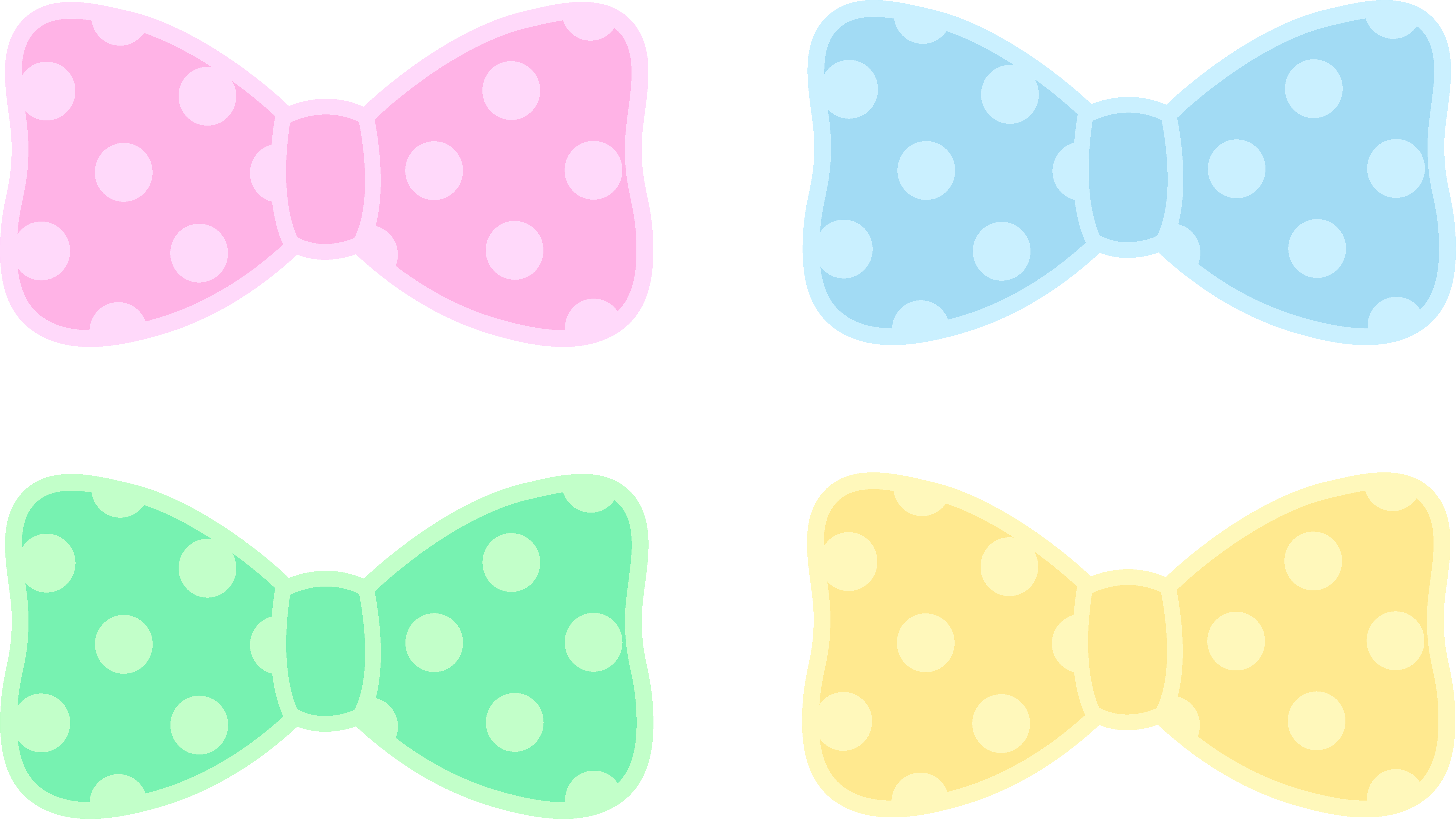 Pastel clipart svg freeuse stock Cute Polka Dot Pastel Bows - Free Clip Art svg freeuse stock