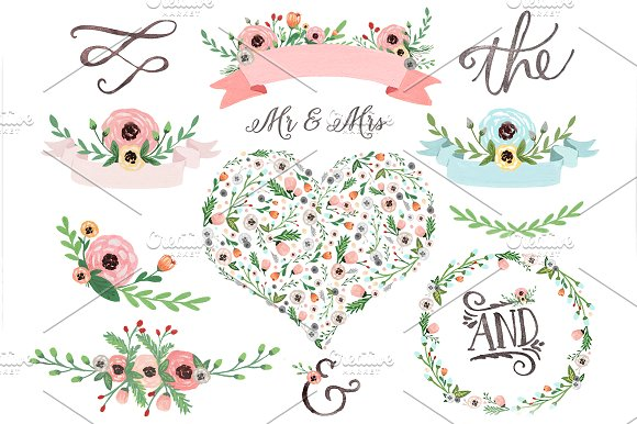 Pastel clipart banner freeuse download Pastel watercolor floral clipart ~ Illustrations on Creative Market banner freeuse download