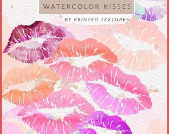 Pastel clipart transparent background clip stock WATERCOLOR VALENTINE KISSES Clip Art Watercolor Lips Clipart clip stock