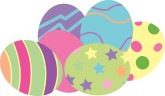 Pastel easter eggs clipart banner transparent stock Search Results for