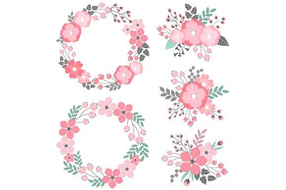 Pastel flower clipart jpg transparent download Pastel Floral Wreath & Bouquets ~ Illustrations on Creative Market jpg transparent download