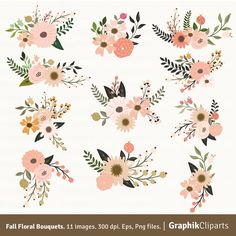 Pastel flowers clipart clipart free download Floral Wedding Set Burgundy.