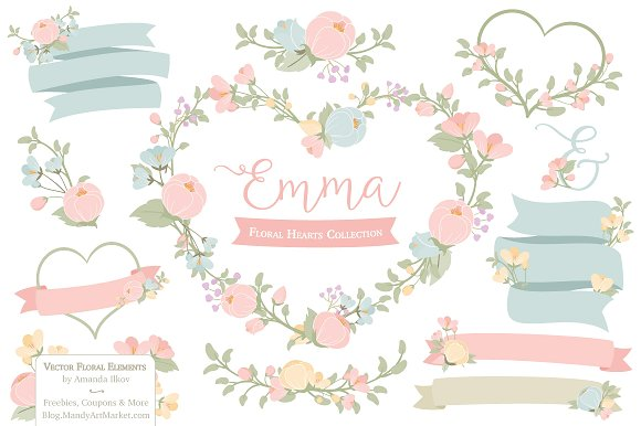 Pastel flowers clipart vector library library Pastel Floral Heart Wreath Vectors ~ Illustrations on Creative Market vector library library
