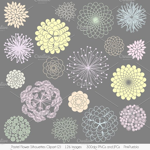 Pastel flowers clipart image stock Pastel Flowers Vectors and Clipart ~ Illustrations on Creative Market image stock