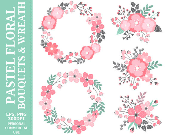Pastel flowers clipart svg library library BUY 2 GET 1 FREE! Digital Pastel Wreath & Bouquets Clip Art ... svg library library