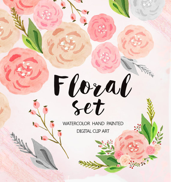 Pastel flowers clipart clip royalty free download Watercolor Floral antlers Clipart, Wedding floral Clip art, pastel ... clip royalty free download