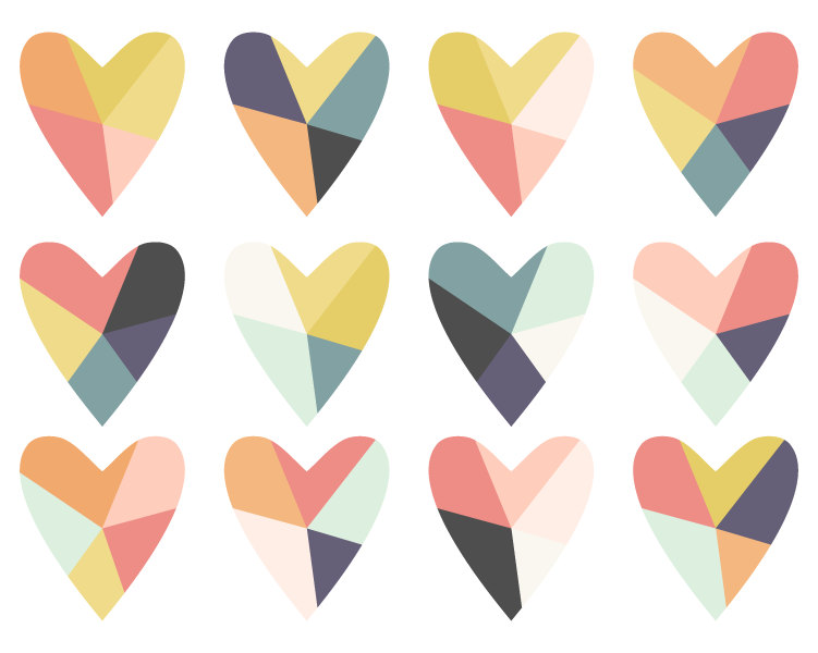 Pastel hearts clipart graphic black and white Geometric Clip Art // Fractured Heart Digital Clip Art // graphic black and white