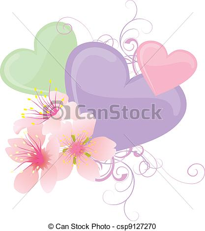 Pastel hearts clipart png transparent Stock Illustration of vector color hearts and pink flowers pastel ... png transparent
