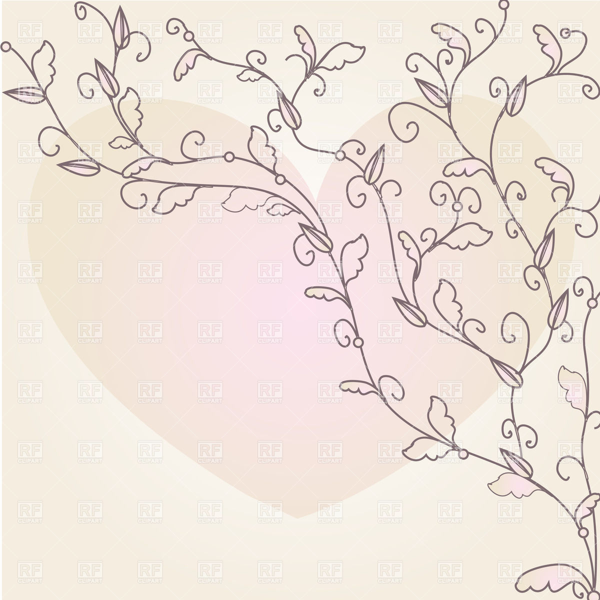 Pastel leaves background clipart graphic royalty free download Wavy twigs with leaves and heart on pastel background Vector Image ... graphic royalty free download