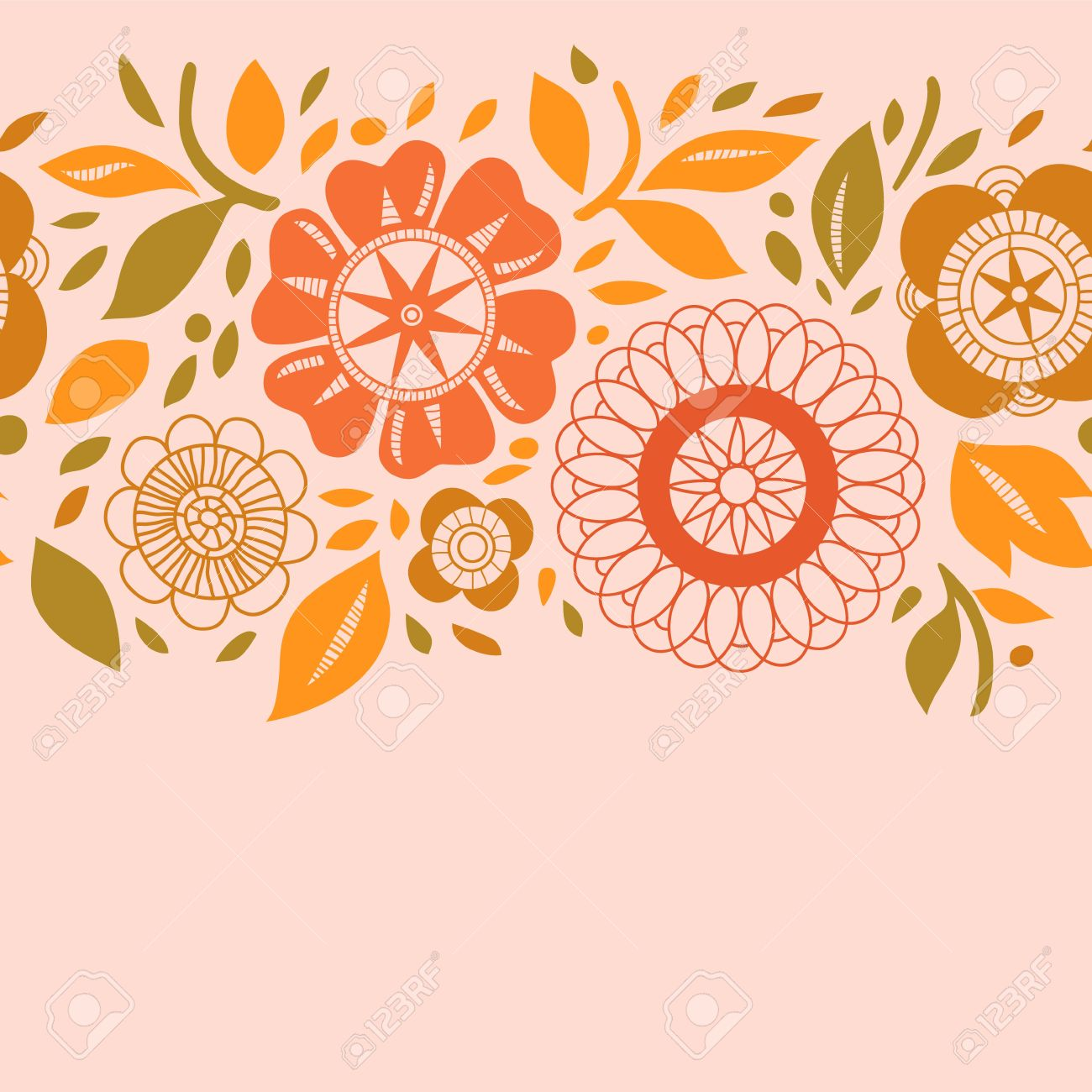 Pastel leaves background clipart vector library stock Flowers And Leaves In Warm Pastel Colors Autumn Seamless ... vector library stock