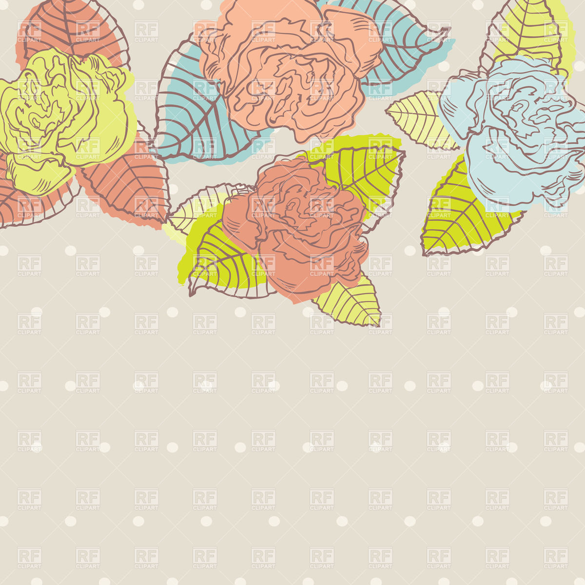 Pastel leaves background clipart svg free download Multi Colored stylish buds of roses on pastel polka dot background ... svg free download