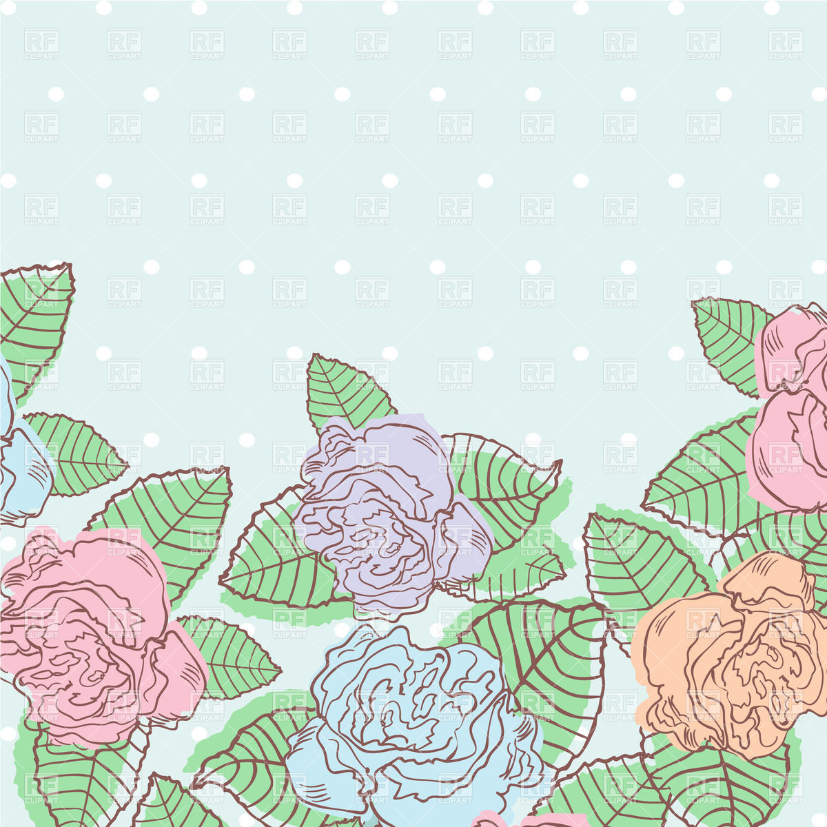 Pastel leaves background clipart graphic royalty free Floral background with bud of roses - invitation in pastel colors ... graphic royalty free