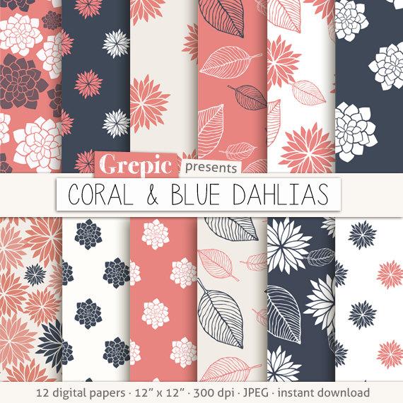 "Pastel leaves background clipart svg royalty free Dahlias digital paper: ""CORAL & BLUE DAHLIAS"" clip art coral ... svg royalty free"