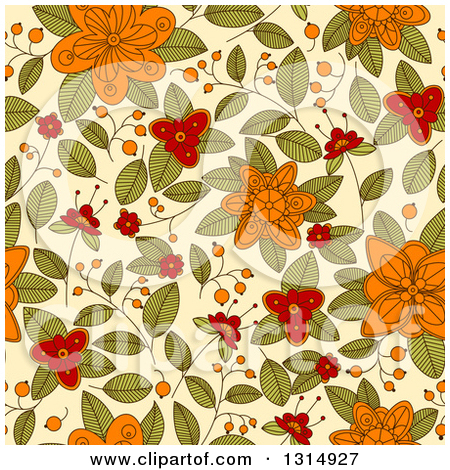 Pastel leaves background clipart royalty free download Clipart of a Seamless Orange Red and Green Doodled Flower Pattern ... royalty free download