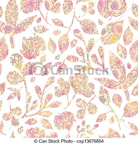 Pastel leaves background clipart svg free library Clipart Vector of Textured pastel Leaves Seamless Pattern ... svg free library