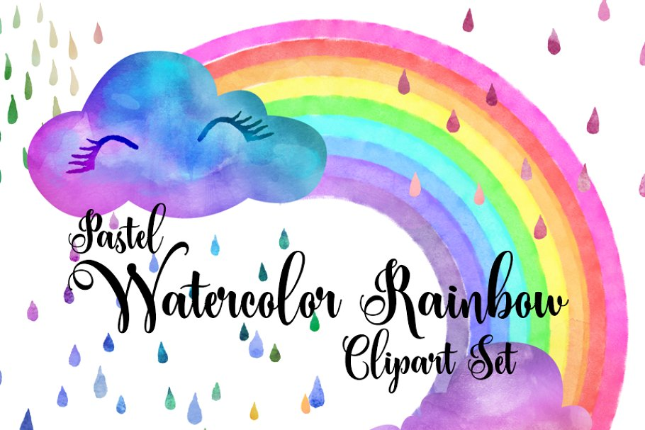 Pastel rain clouds clipart svg royalty free download Pastel Watercolor Rainbows Clipart svg royalty free download