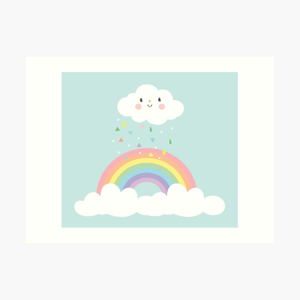Pastel rain clouds clipart clip art freeuse download Rainbow Happy Little Cloud Pastel Rain and Sunshine Nursery Art Print  Design 2 | Art Print clip art freeuse download