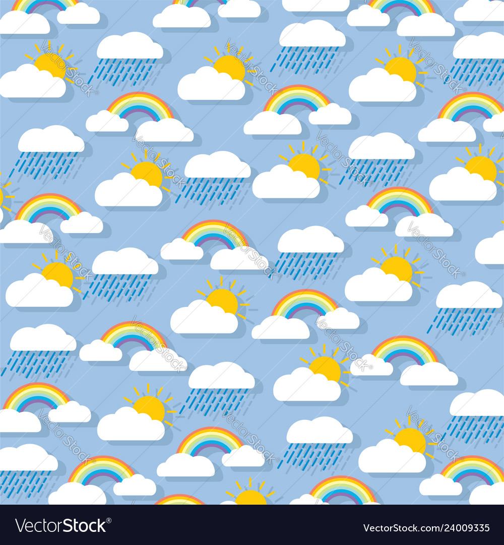 Pastel rain clouds clipart jpg royalty free Pastel background clouds with rainbow sun and jpg royalty free
