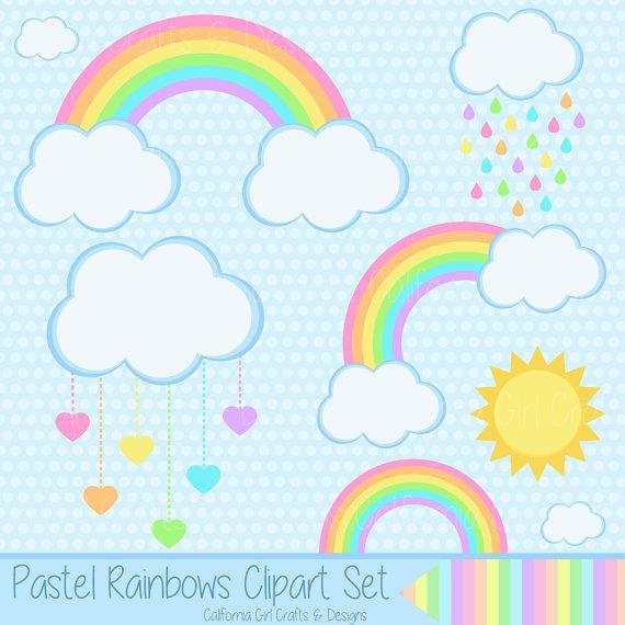Pastel rain clouds clipart jpg transparent download Pastel Rainbows Clipart Set - Rainbows, Clouds, Sun, Hearts ... jpg transparent download