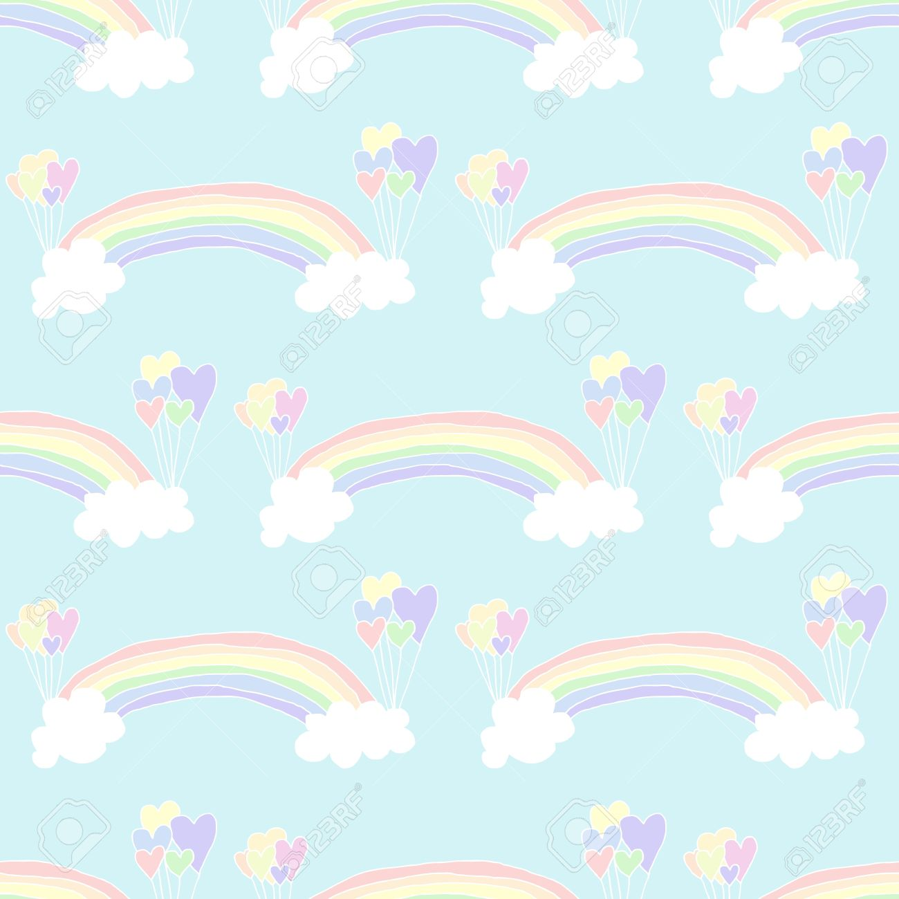 Pastel rainbow clipart picture transparent stock Illustration Of Hand Drawn Seamless Pastel Rainbow Background ... picture transparent stock
