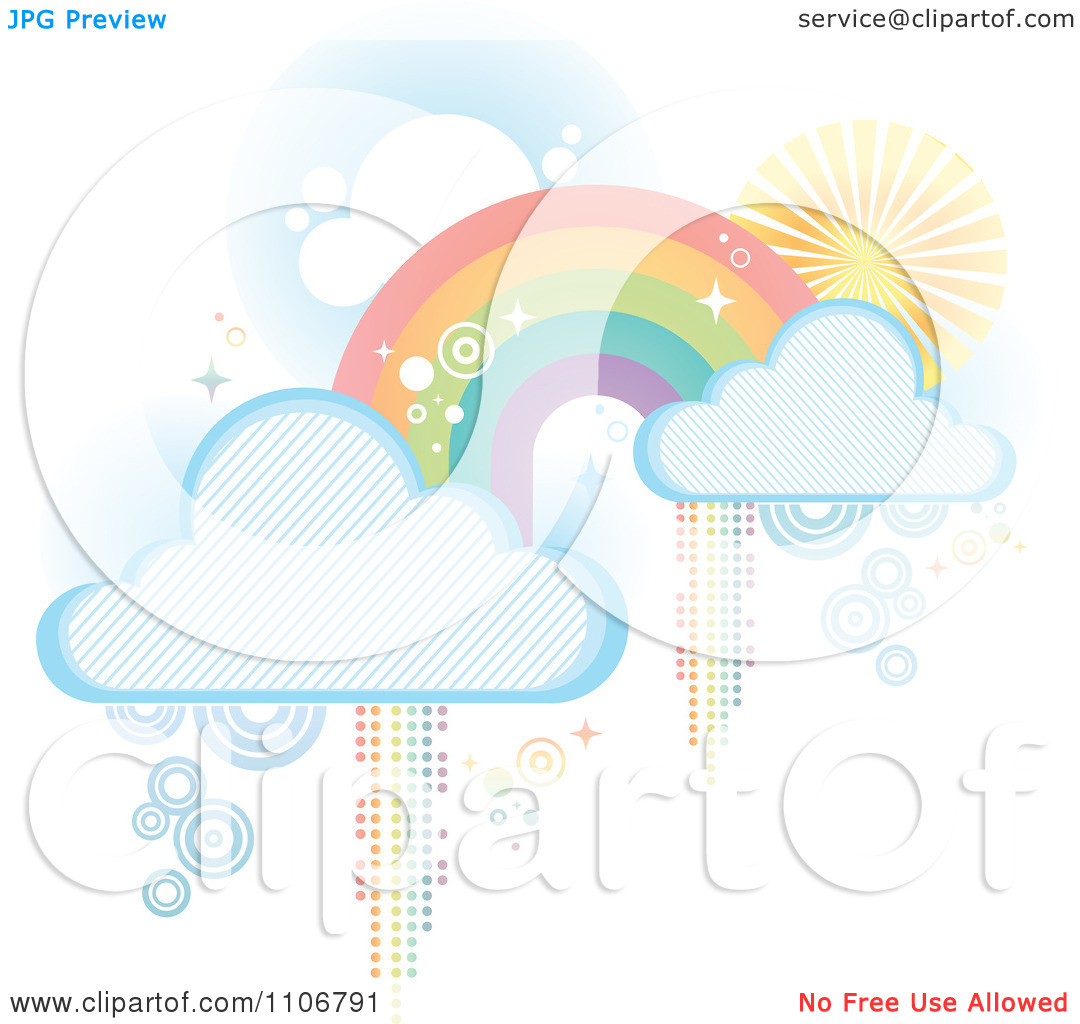 Pastel rainbow clipart clip art black and white stock Clipart Pastel Rainbow With Clouds And Pixel Trails On White ... clip art black and white stock