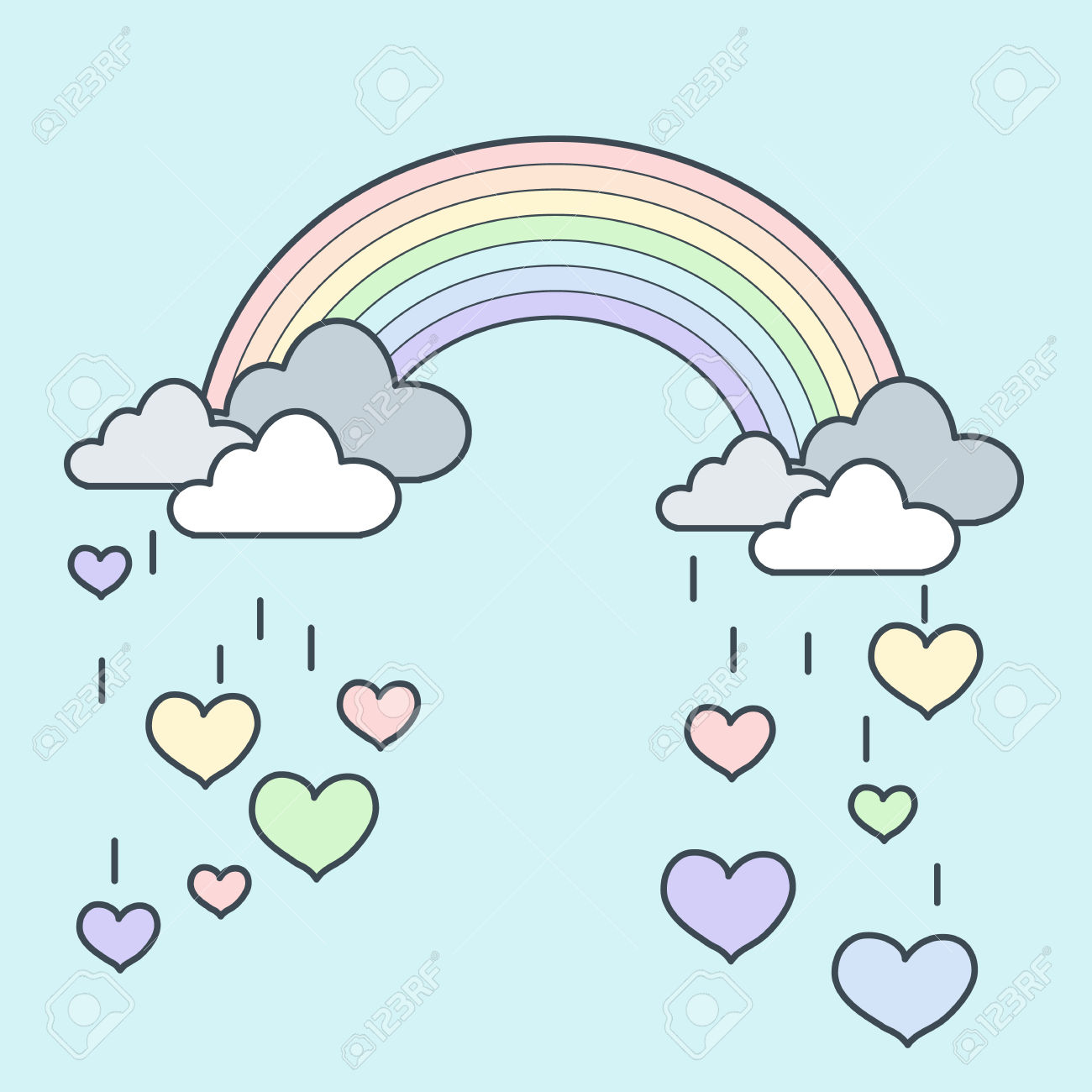 Pastel rainbow clipart svg transparent stock Illustration Of Pastel Rainbow With Falling Heart Royalty Free ... svg transparent stock