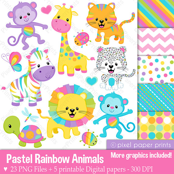 Pastel rainbow clipart graphic freeuse library Pastel Rainbow Animals Clipart - Clip Art and Digital paper set by ... graphic freeuse library