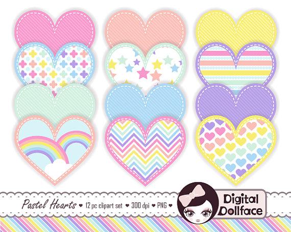 Pastel rainbow clipart svg transparent stock Rainbow Pastel Clipart Stitched Heart Graphics Cute Clip Art svg transparent stock