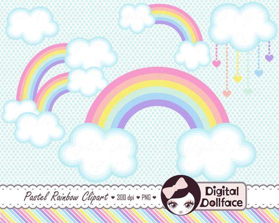 Pastel rainbow clipart jpg freeuse stock Pastel Rainbow Clip Art Clouds Clipart Spring by DigitalDollface ... jpg freeuse stock